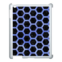 Hexagon2 Black Marble & Blue Watercolor Apple Ipad 3/4 Case (white) by trendistuff