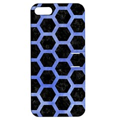 Hexagon2 Black Marble & Blue Watercolor Apple Iphone 5 Hardshell Case With Stand by trendistuff