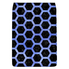 Hexagon2 Black Marble & Blue Watercolor Removable Flap Cover (l) by trendistuff