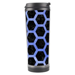 Hexagon2 Black Marble & Blue Watercolor Travel Tumbler by trendistuff