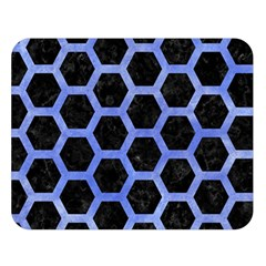 Hexagon2 Black Marble & Blue Watercolor Double Sided Flano Blanket (large) by trendistuff