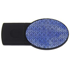Hexagon1 Black Marble & Blue Watercolor (r) Usb Flash Drive Oval (2 Gb) by trendistuff