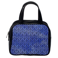 Hexagon1 Black Marble & Blue Watercolor (r) Classic Handbag (one Side)