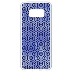 Hexagon1 Black Marble & Blue Watercolor (r) Samsung Galaxy S8 White Seamless Case by trendistuff