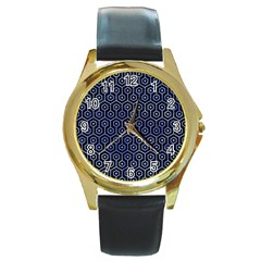 Hexagon1 Black Marble & Blue Watercolor Round Gold Metal Watch by trendistuff