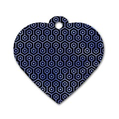 Hexagon1 Black Marble & Blue Watercolor Dog Tag Heart (two Sides) by trendistuff