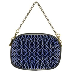 Hexagon1 Black Marble & Blue Watercolor Chain Purse (one Side) by trendistuff