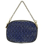 HEXAGON1 BLACK MARBLE & BLUE WATERCOLOR Chain Purse (One Side) Front