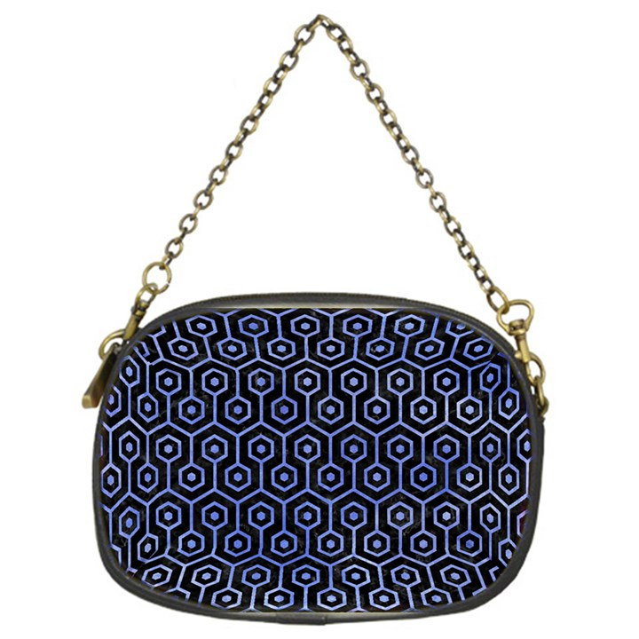 HEXAGON1 BLACK MARBLE & BLUE WATERCOLOR Chain Purse (One Side)