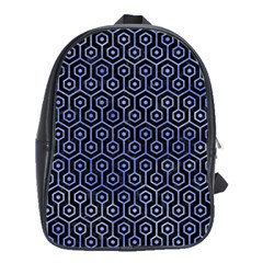 Hexagon1 Black Marble & Blue Watercolor School Bag (large) by trendistuff