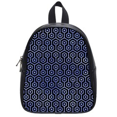 Hexagon1 Black Marble & Blue Watercolor School Bag (small) by trendistuff