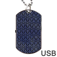 Hexagon1 Black Marble & Blue Watercolor Dog Tag Usb Flash (two Sides) by trendistuff