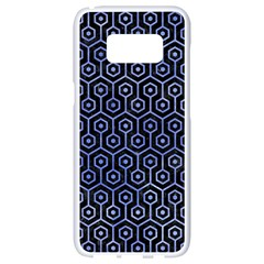 Hexagon1 Black Marble & Blue Watercolor Samsung Galaxy S8 White Seamless Case by trendistuff