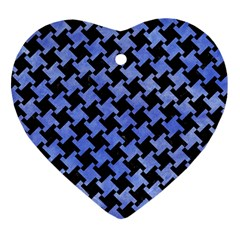 Houndstooth2 Black Marble & Blue Watercolor Heart Ornament (two Sides) by trendistuff
