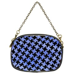 Houndstooth2 Black Marble & Blue Watercolor Chain Purse (two Sides) by trendistuff