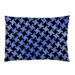 Houndstooth2 Black Marble & Blue Watercolor Pillow Case by trendistuff