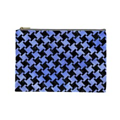 Houndstooth2 Black Marble & Blue Watercolor Cosmetic Bag (large) by trendistuff