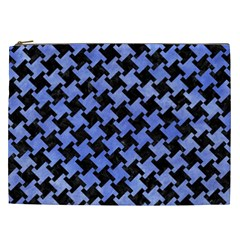 Houndstooth2 Black Marble & Blue Watercolor Cosmetic Bag (xxl) by trendistuff