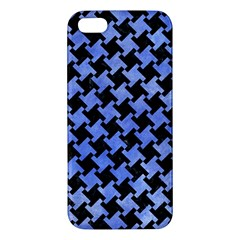 Houndstooth2 Black Marble & Blue Watercolor Apple Iphone 5 Premium Hardshell Case by trendistuff