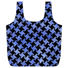 Houndstooth2 Black Marble & Blue Watercolor Full Print Recycle Bag (xl) by trendistuff