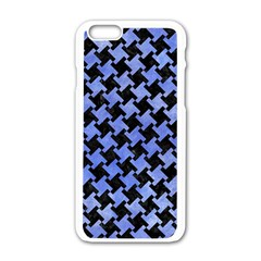 Houndstooth2 Black Marble & Blue Watercolor Apple Iphone 6/6s White Enamel Case by trendistuff