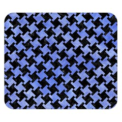 Houndstooth2 Black Marble & Blue Watercolor Double Sided Flano Blanket (small) by trendistuff