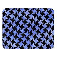 Houndstooth2 Black Marble & Blue Watercolor Double Sided Flano Blanket (large) by trendistuff