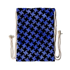 Houndstooth2 Black Marble & Blue Watercolor Drawstring Bag (small) by trendistuff