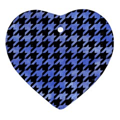 Houndstooth1 Black Marble & Blue Watercolor Heart Ornament (two Sides) by trendistuff