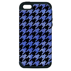 Houndstooth1 Black Marble & Blue Watercolor Apple Iphone 5 Hardshell Case (pc+silicone) by trendistuff