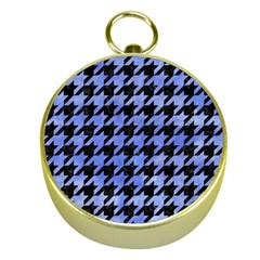 Houndstooth1 Black Marble & Blue Watercolor Gold Compass by trendistuff