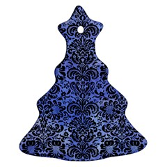 Damask2 Black Marble & Blue Watercolor (r) Ornament (christmas Tree)  by trendistuff