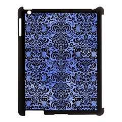Damask2 Black Marble & Blue Watercolor (r) Apple Ipad 3/4 Case (black) by trendistuff