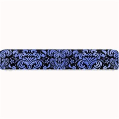 Damask2 Black Marble & Blue Watercolor Small Bar Mat by trendistuff