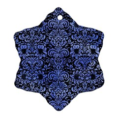Damask2 Black Marble & Blue Watercolor Ornament (snowflake) by trendistuff