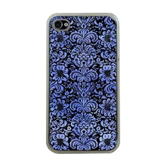 Damask2 Black Marble & Blue Watercolor Apple Iphone 4 Case (clear) by trendistuff