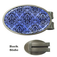 Damask1 Black Marble & Blue Watercolor (r) Money Clip (oval) by trendistuff