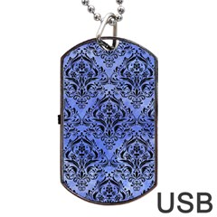 Damask1 Black Marble & Blue Watercolor (r) Dog Tag Usb Flash (one Side) by trendistuff