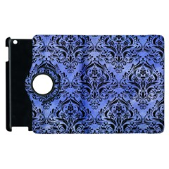 Damask1 Black Marble & Blue Watercolor (r) Apple Ipad 3/4 Flip 360 Case by trendistuff