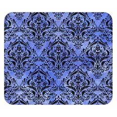 Damask1 Black Marble & Blue Watercolor (r) Double Sided Flano Blanket (small) by trendistuff