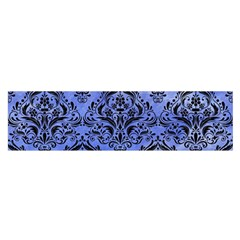 Damask1 Black Marble & Blue Watercolor (r) Satin Scarf (oblong)
