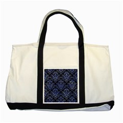 Damask1 Black Marble & Blue Watercolor Two Tone Tote Bag by trendistuff