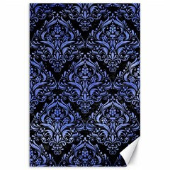 Damask1 Black Marble & Blue Watercolor Canvas 20  X 30  by trendistuff
