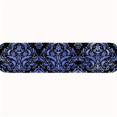 Damask1 Black Marble & Blue Watercolor Large Bar Mat by trendistuff