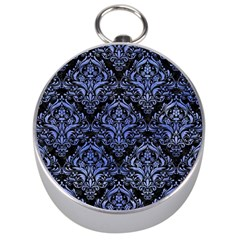 Damask1 Black Marble & Blue Watercolor Silver Compass by trendistuff