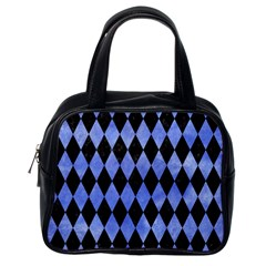 Diamond1 Black Marble & Blue Watercolor Classic Handbag (one Side)
