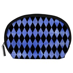 Diamond1 Black Marble & Blue Watercolor Accessory Pouch (large) by trendistuff