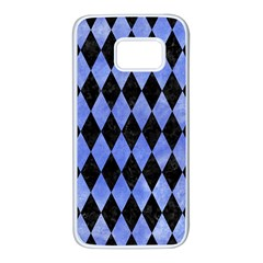 Diamond1 Black Marble & Blue Watercolor Samsung Galaxy S7 White Seamless Case
