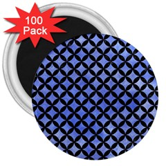 Circles3 Black Marble & Blue Watercolor (r) 3  Magnet (100 Pack) by trendistuff