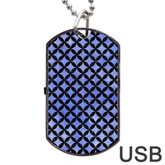 Circles3 Black Marble & Blue Watercolor (r) Dog Tag Usb Flash (one Side) by trendistuff